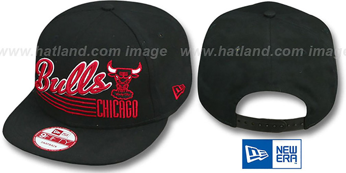 Bulls 'SCRIPT-STRIPE SNAPBACK' Black Hat by New Era : pictured without stickers that these products are shipped with