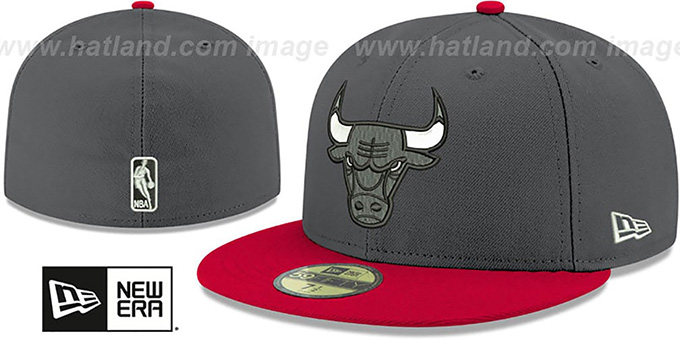 Bulls 'SHADER MELT-2' Grey-Red Fitted Hat by New Era : pictured without stickers that these products are shipped with