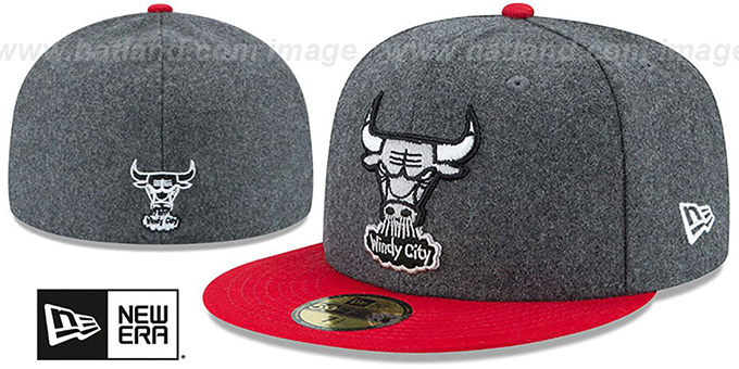 Bulls 'SHADER MELTON' Grey-Red Fitted Hat by New Era : pictured without stickers that these products are shipped with