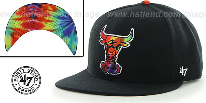 Bulls 'SHAKEDOWN' Black Fitted Hat by 47 Brand : pictured without stickers that these products are shipped with