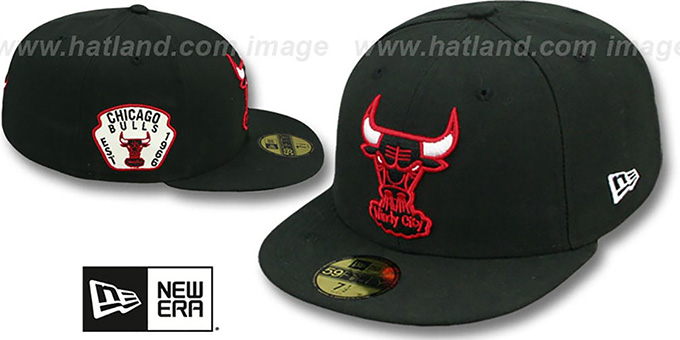 Bulls 'SIDE TEAM-PATCH' Black Fitted Hat by New Era : pictured without stickers that these products are shipped with