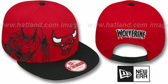 Bulls 'SIDE-TEAM' WOLVERINE SNAPBACK Hat by New Era : pictured without stickers that these products are shipped with