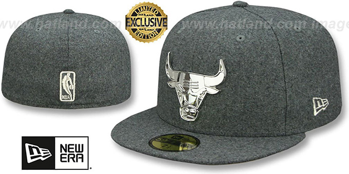 b9c27278 Bulls 'SILVER METAL-BADGE' Melton Grey Fitted Hat by New Era