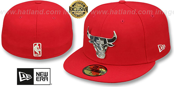 274f9591e40f6 Chicago Bulls SILVER METAL-BADGE Red Fitted Hat by New Era