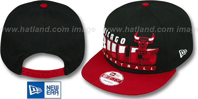 Bulls 'SLICE-N-DICE SNAPBACK' Black-Red Hat by New Era : pictured without stickers that these products are shipped with