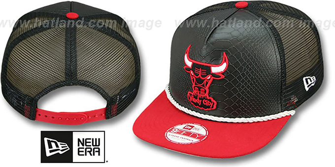 Bulls 'SNAKE A-FRAME SNAPBACK' Black-Red Hat by New Era : pictured without stickers that these products are shipped with