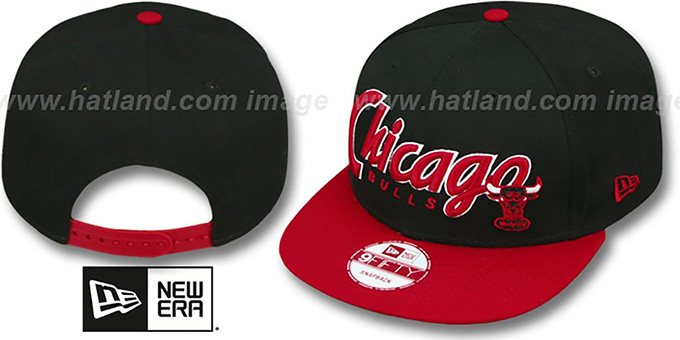 Bulls 'SNAP-IT-BACK SNAPBACK' Black-Red Hat by New Era : pictured without stickers that these products are shipped with