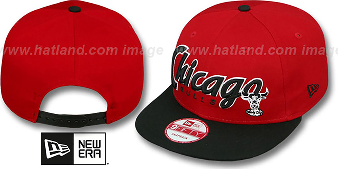 Bulls 'SNAP-IT-BACK SNAPBACK' Red-Black Hat by New Era : pictured without stickers that these products are shipped with