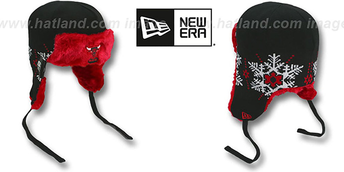 Bulls 'SNOWFLAKE TRAPPER' Black-Red Knit Hat by New Era : pictured without stickers that these products are shipped with