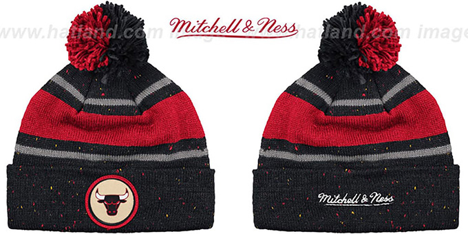 Bulls 'HWC SPECKLED' Black-Red Knit Beanie by Mitchell and Ness : pictured without stickers that these products are shipped with