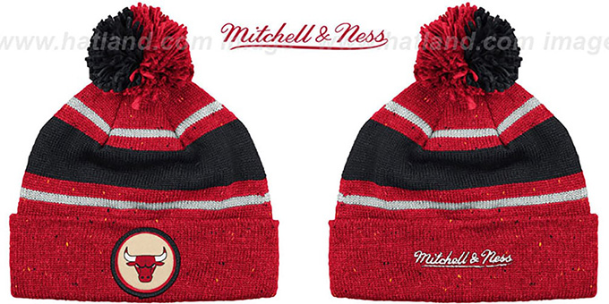 Bulls 'SPECKLED' Red-Black Knit Beanie by Mitchell and Ness : pictured without stickers that these products are shipped with