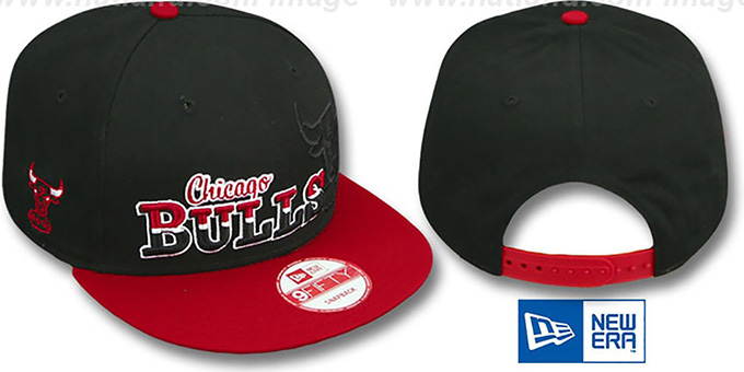 Bulls 'SPLIT-BLOCK SNAPBACK' Black-Red Hat by New Era : pictured without stickers that these products are shipped with