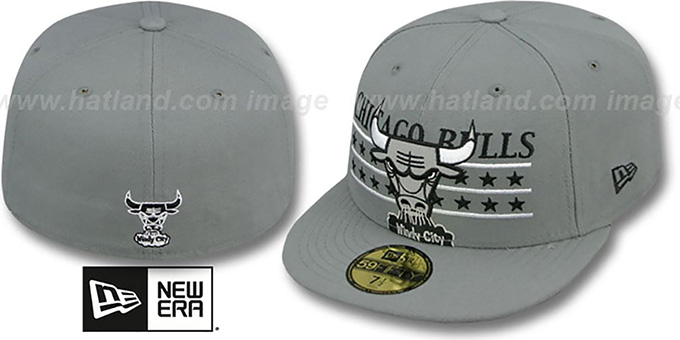 Bulls 'STAR STUDDED' Grey Fitted Hat by New Era : pictured without stickers that these products are shipped with