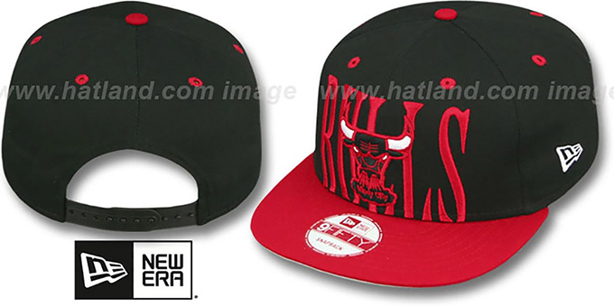 Bulls 'STEP-ABOVE SNAPBACK' Black-Red Hat by New Era : pictured without stickers that these products are shipped with