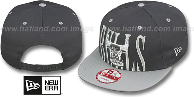 Bulls 'STEP-ABOVE SNAPBACK' Charcoal-Grey Hat by New Era : pictured without stickers that these products are shipped with