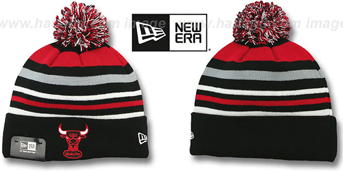 Bulls 'STRIPEOUT' Knit Beanie Hat by New Era : pictured without stickers that these products are shipped with