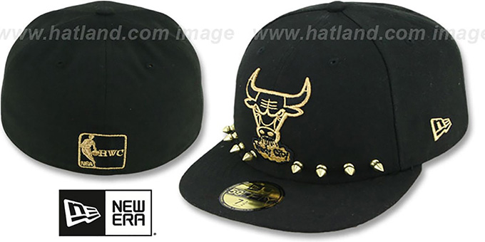 Bulls 'STUD-POP' Black Fitted Hat by New Era : pictured without stickers that these products are shipped with