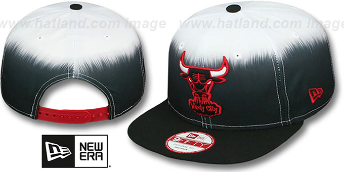 Bulls 'SUBLENDER SNAPBACK' Black-White Hat by New Era : pictured without stickers that these products are shipped with