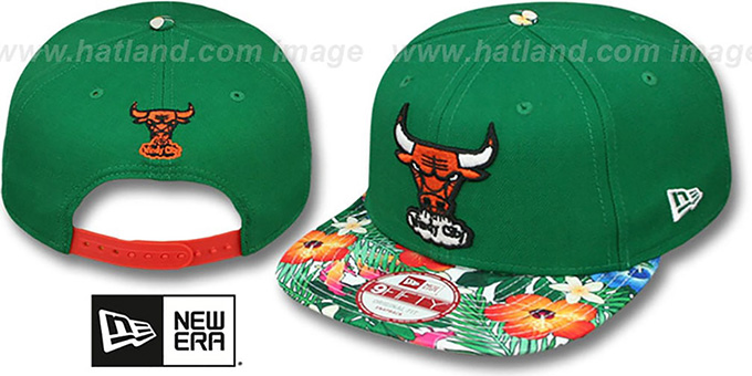Bulls 'SUNSHINE BLOOM SNAPBACK' Green-Multi Hat by New Era : pictured without stickers that these products are shipped with