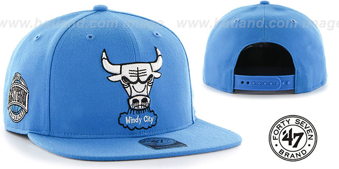 Bulls 'SURE-SHOT SNAPBACK' Blue Hat by Twins 47 Brand : pictured without stickers that these products are shipped with