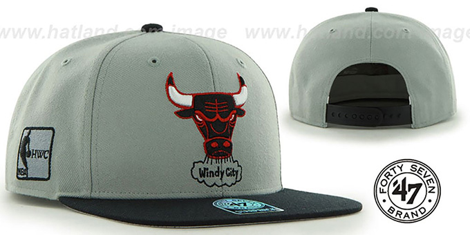 Bulls 'SURE-SHOT SNAPBACK' Grey-Black Hat by Twins 47 Brand : pictured without stickers that these products are shipped with