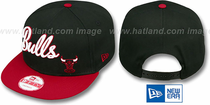 Bulls 'SWASH-SCRIPT SNAPBACK' Black-Red Hat by New Era : pictured without stickers that these products are shipped with