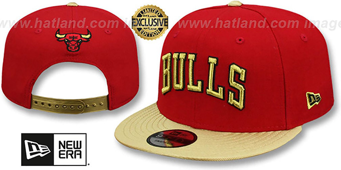 Bulls 'SWINGMAN SNAPBACK' Red-Gold Hat by New Era : pictured without stickers that these products are shipped with