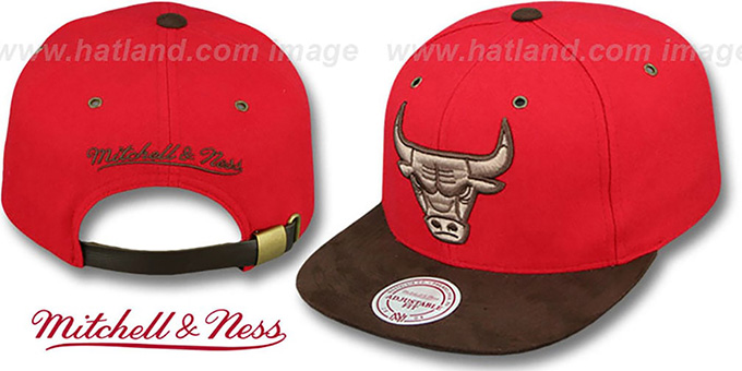 Bulls 'TC-BROWN SUEDE STRAPBACK' Hat Mitchell & Ness : pictured without stickers that these products are shipped with