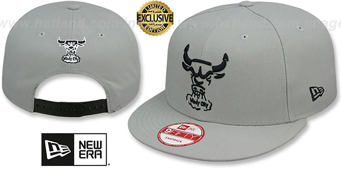 Bulls 'TEAM-BASIC TRACE SNAPBACK' Grey-Black Hat by New Era : pictured without stickers that these products are shipped with