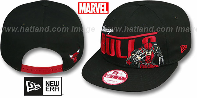 Bulls 'TEAM-HERO SNAPBACK' Black Hat by New Era : pictured without stickers that these products are shipped with