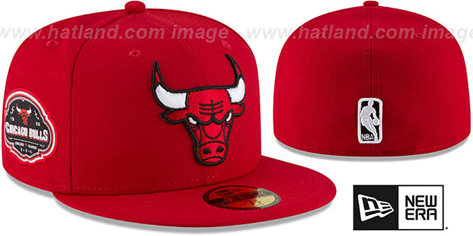 Bulls 'TEAM-SUPERB' Red Fitted Hat by New Era : pictured without stickers that these products are shipped with