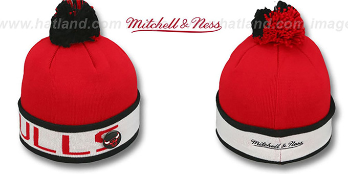 Bulls 'THE-BUTTON' Knit Beanie Hat by Michell & Ness : pictured without stickers that these products are shipped with