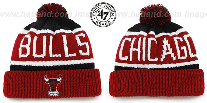 Bulls 'THE-CALGARY 2' Red-Black Knit Beanie Hat by Twins 47 Brand : pictured without stickers that these products are shipped with