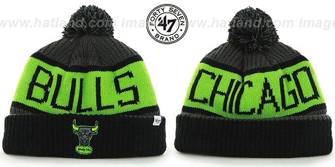 Bulls 'THE-CALGARY' Black-Charcoal-Lime Knit Beanie Hat by Twins 47 Brand : pictured without stickers that these products are shipped with