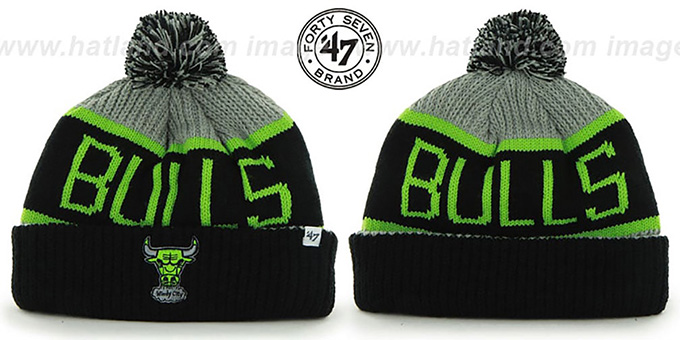 Bulls 'THE-CALGARY' Black-Grey-Lime Knit Beanie Hat by Twins 47 Brand : pictured without stickers that these products are shipped with