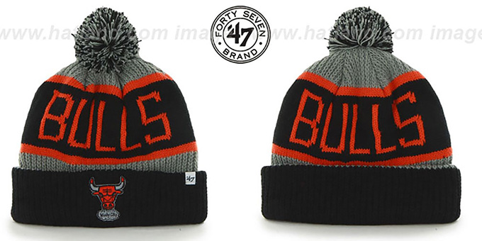 Bulls 'THE-CALGARY' Black-Grey-Orange Knit Beanie Hat by Twins 47 Brand : pictured without stickers that these products are shipped with
