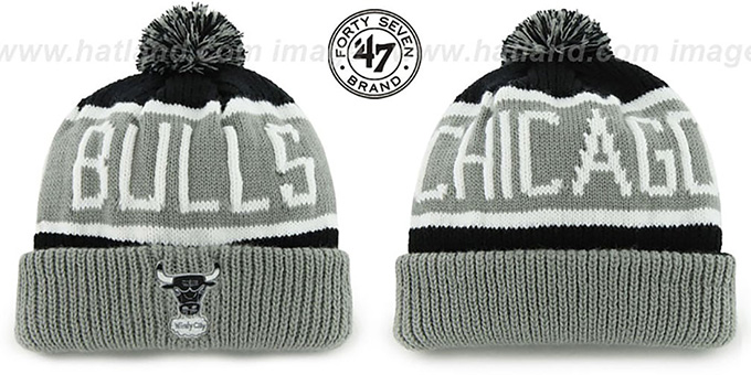Bulls 'THE-CALGARY' Grey-Black Knit Beanie Hat by Twins 47 Brand : pictured without stickers that these products are shipped with