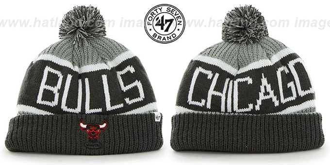 Bulls 'THE-CALGARY' Grey-Grey Knit Beanie Hat by Twins 47 Brand : pictured without stickers that these products are shipped with