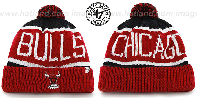 Bulls 'THE-CALGARY' Red-Black Knit Beanie Hat by Twins 47 Brand : pictured without stickers that these products are shipped with