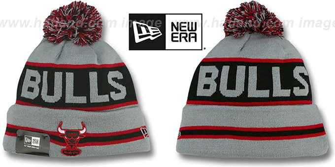 Bulls 'THE-COACH' Grey-Black Knit Beanie Hat by New Era : pictured without stickers that these products are shipped with