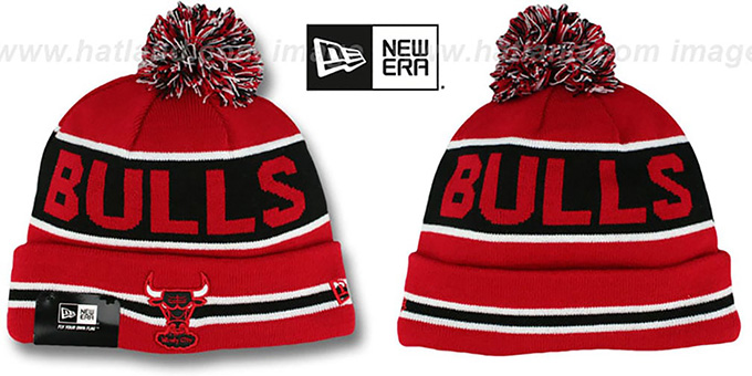 Bulls 'THE-COACH' Red-Black Knit Beanie Hat by New Era : pictured without stickers that these products are shipped with