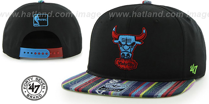 Bulls 'THE-DUDE SNAPBACK' Black-Blue Hat by Twins 47 Brand : pictured without stickers that these products are shipped with