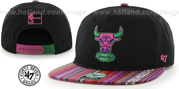 Bulls 'THE-DUDE SNAPBACK' Black-Pink Hat by Twins 47 Brand : pictured without stickers that these products are shipped with