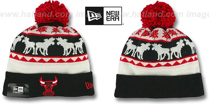 Bulls 'THE-MOOSER' Knit Beanie Hat by New Era : pictured without stickers that these products are shipped with