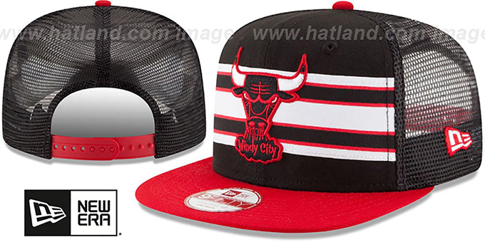 Bulls 'THROWBACK-STRIPE SNAPBACK' Black-Red Hat by New Era : pictured without stickers that these products are shipped with