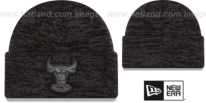 Bulls  TONAL TRICK  Black-Grey Knit Beanie Hat by ... 89f7e8061d5