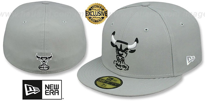 Bulls 'TRACE TEAM-BASIC' Grey-Black-White Fitted Hat by New Era : pictured without stickers that these products are shipped with
