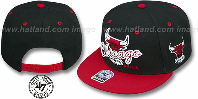 Bulls 'TRICKY LOU SNAPBACK' Black-Red Hat by Twins 47 Brand : pictured without stickers that these products are shipped with