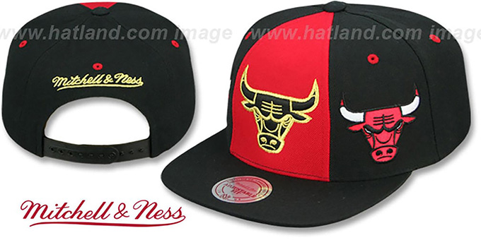 3d2b7b45061 Bulls  TRIPLE STACK SNAPBACK  Red-Black Hat by Mitchell and Ness
