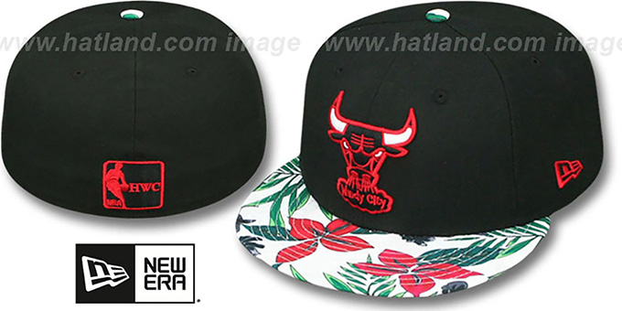 Bulls 'TROPTRIP BLOOM' Black-Multi Fitted Hat by New Era : pictured without stickers that these products are shipped with